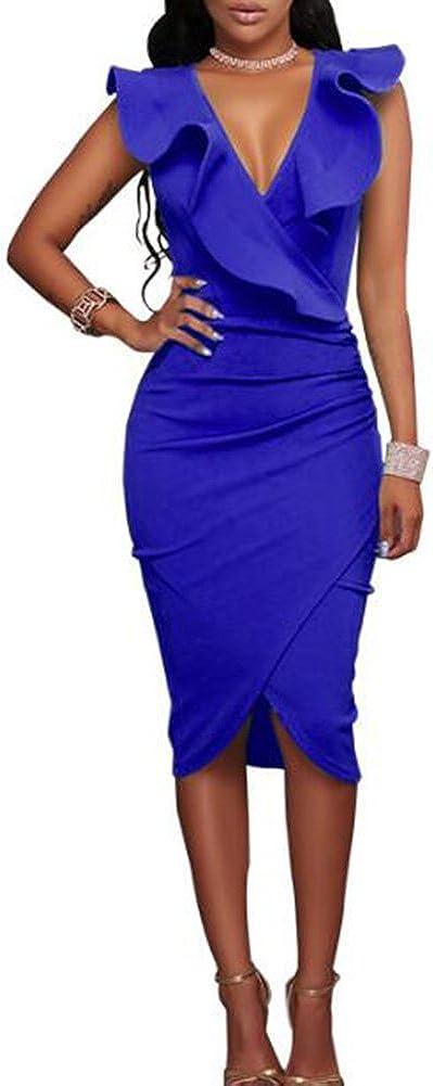 TALLA XL. Hibote Vestidos a Media Pierna con Volantes sin Mangas de la Fiesta de Las Mujeres Azul XL