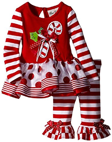 Rare Editions Baby Baby-Girls Newborn Candycane Applique Legging Set Newborn, Red/White, 2T (Candy Cane Outfit)