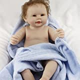 Full Silicone Vinyl Body Reborn Baby Dolls Boy Real Looking Naked Toddler with Blue Blanket 20 Inches