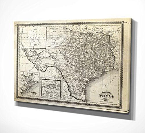 (WEXFORD HOME Vintage Texas Map Gallery Wrapped Canvas Art, 24x32,)