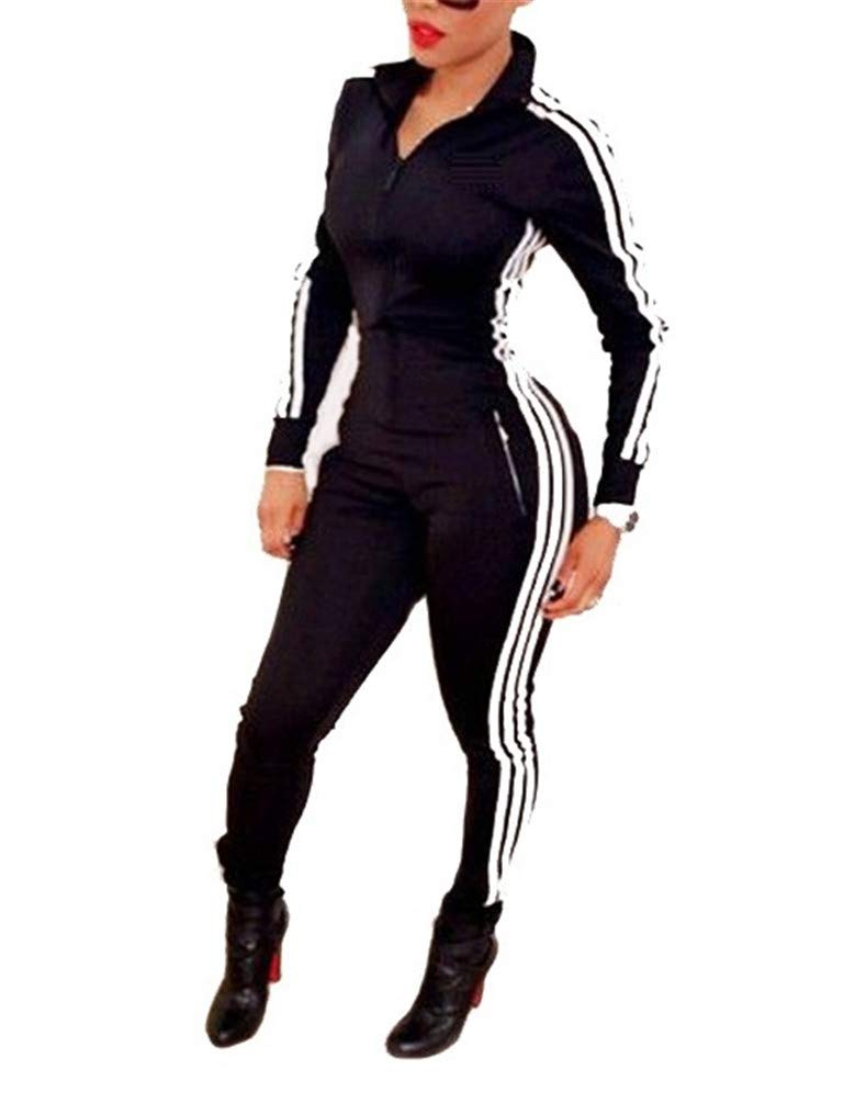 Nicetage Women Sexy Long Sleeve Zipper Sport Fitness Bodycon Striped Jumpsuit Romper (HS19 SportsLianti Black S)