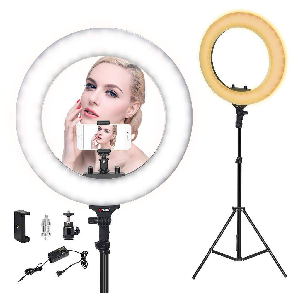 ZoMei Ring Light,Ring Light with Stand,18 inch LED Dimmable 50W 3200-5500K Carrying Bag for Camera,Smartphone, You Tube,Self-Portrait Shooting Good for Beauty Facial Make Up Live Stream by ZoMei