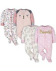 Gerber baby-girls 4 Pack Sleep 'N Play Footie