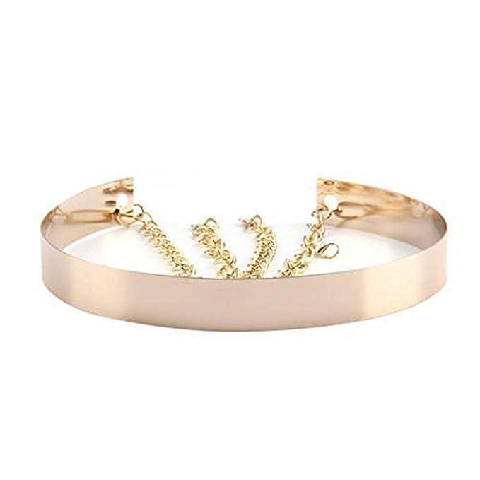 09ce8b682 Cinturón de cintura de metal para mujer Espejo ancho Oro Dorado Plata  Plateado Cadena llena Cadenas de pretina: Amazon.es: Ropa y accesorios