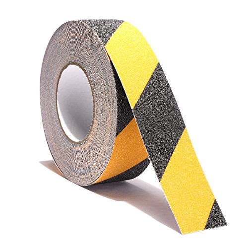 Non Slip Safety Grip Tape for Stairs Steps 2 Inch X 60 Foot - Indoor Outdoor Non Skid Tread High Traction Friction Friction Abrasive Adhesive Tape Yellow And Black by AISEY