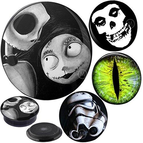 8 pieces of 1 inch gauges plugs flesh tunnels double flare Nightmare Misfit MoDTanOiz