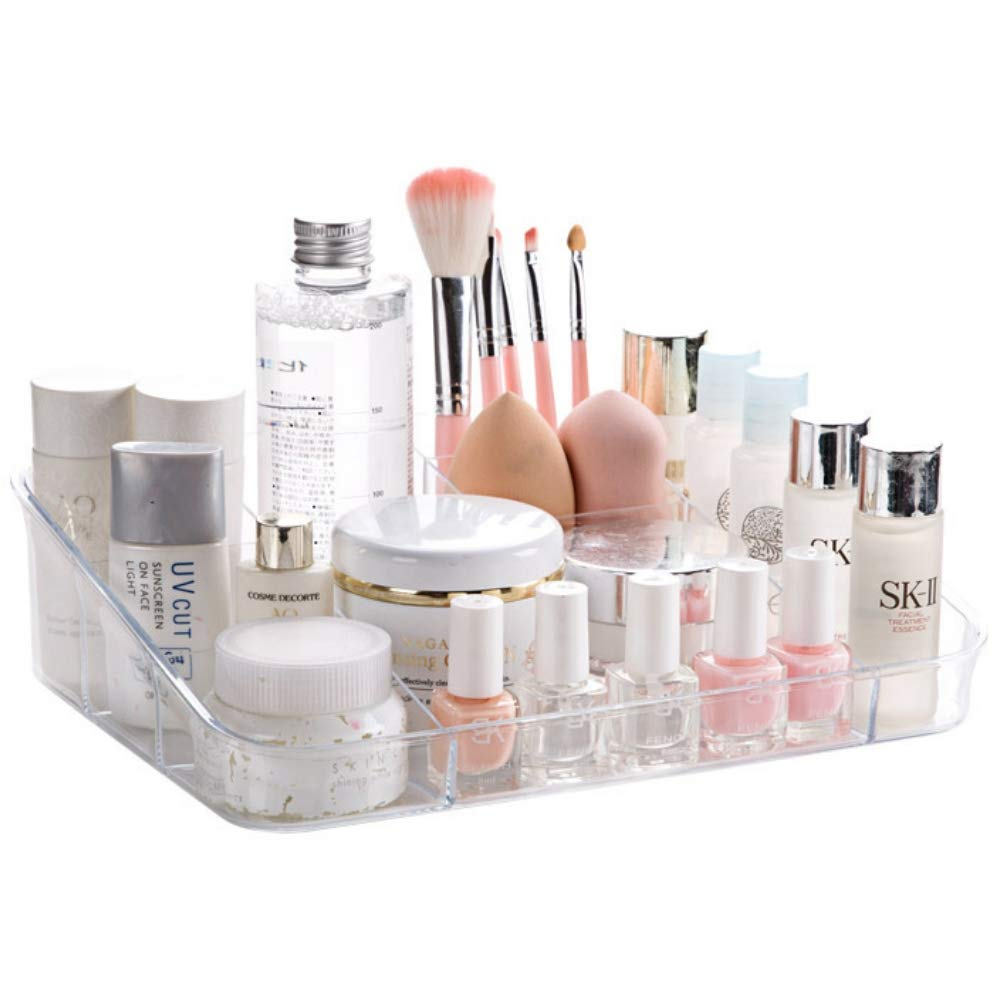 SUNFICON Makeup Organizer Tray Cosmetic Display Case Storage Holder Makeup Box Units for Bathroom Drawers Countertops Vanity, Crystal Clear Acrylic