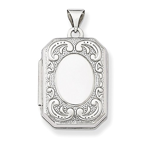14k White Gold Polished Holds 2 photos 20mm Book Scroll Border Locket ()