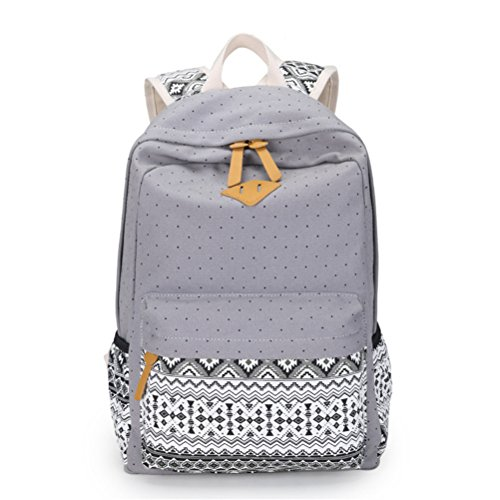 Vintage mochilas escolares para niñas adolescentes mochilas escolares dama de gran capacidad lienzo Impresión Dot Mochila Mochila Bagpack Bookbag beige Gray