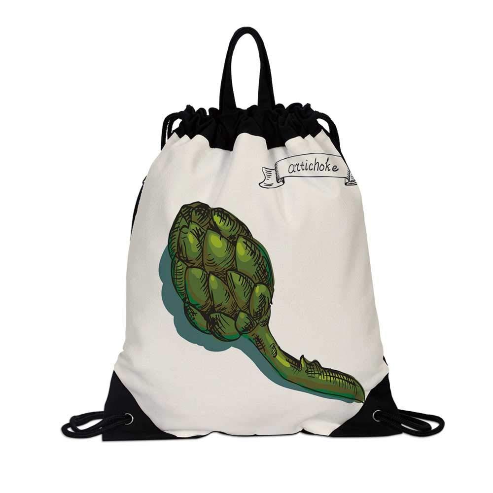 Artichoke Canvas Drawstring Bag,Artichoke Illustration Organic Food Fresh Garden Yield Healthy Choice Life Style Decorative for Travel School,7.4''L x 1.5''W x 9.4''H