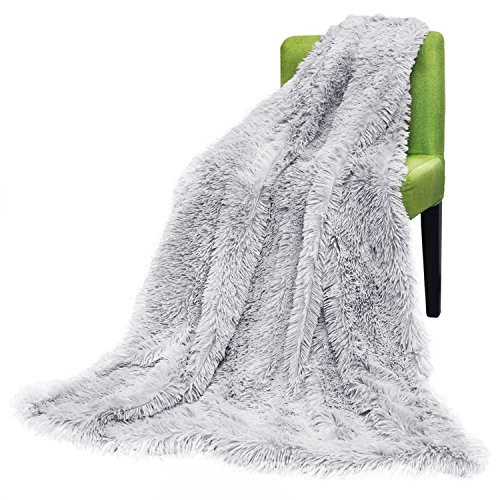 FabricMCC Faux Fur Throw Blanket, Camel Fleece Blanket, Solid Warm Soft Grey style throw on Sofa/Bed/Plane/Travel Bedspread Bed Sheet for Couch Light Weight Bed Shaggy Blanket 50x60 Inch