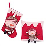 Christmas Pillow with Christmas Stocking Value Set Snowman Christmas Decorations Indoor Home Party 3D Figurine Throw Pillow(With 3 Free Gifts)