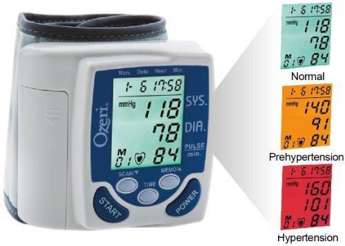 Ozeri BP2M Cardiotech Premium Series Digital Blood Pressure Monitor with Color Alert Technology, White/Blue