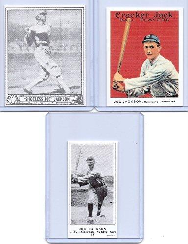 shoeless-joe-jackson-3-card-reprint-lot-1915-cracker-jack-playball-225-white-sox-legend