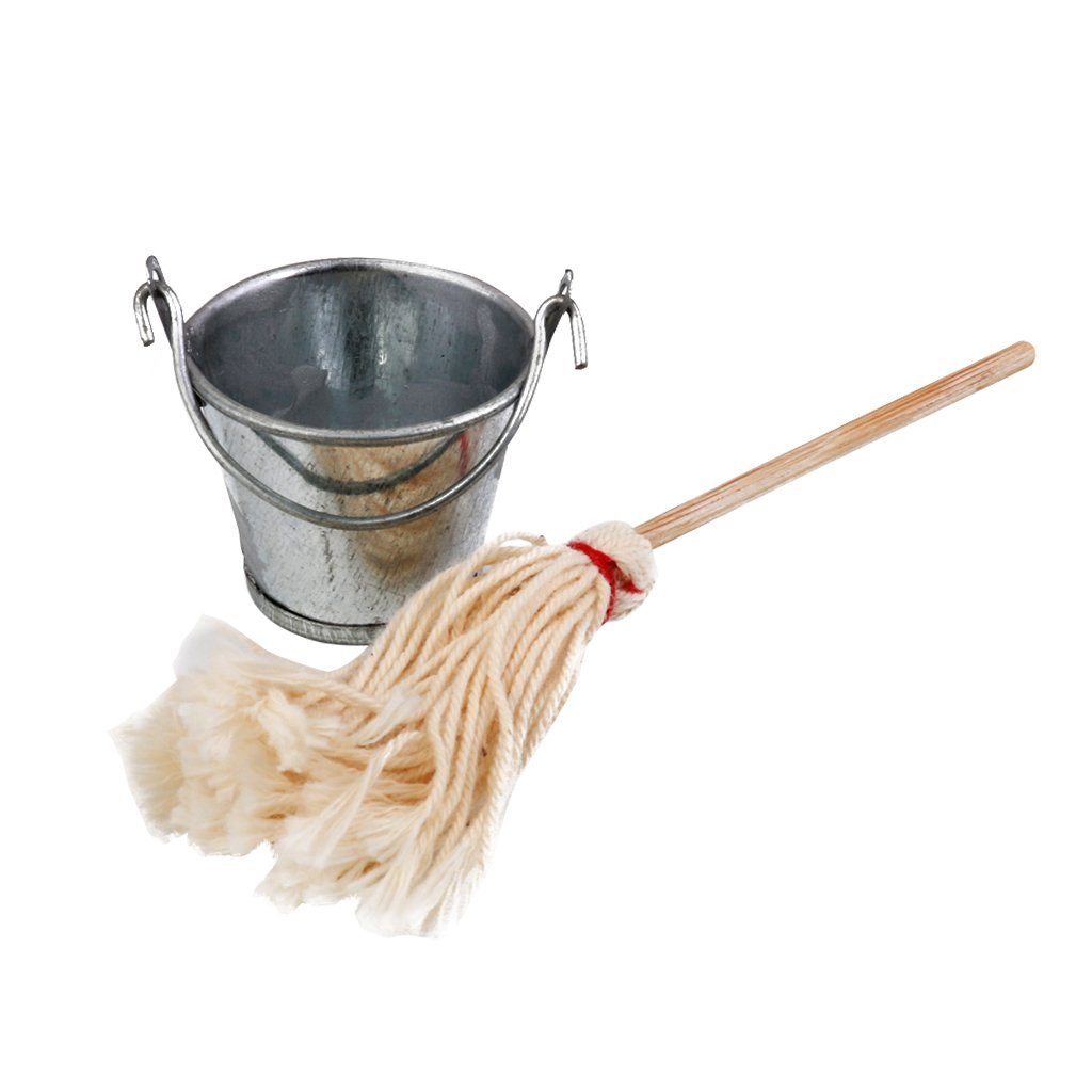 Dollhouse miniature mop and bucket 1:12 scale