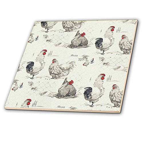 3dRose ct_268730_2 Rooster Chicken Country Farm Ceramic Tiles, 6