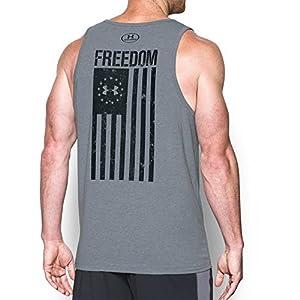 Under Armour Men's Freedom Flag Tank Top, Steel Light Heather/Black, Medium