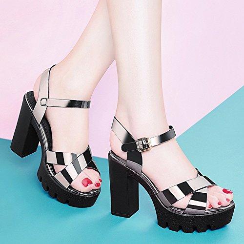 Jqdyl Tacones Nueva Gruesa con Tacones Altos Plataforma Impermeable Zapatos de Verano Hebilla Pequeñas Sandalias Frescas Verano, 36, Color de Plomo 36 Lead color