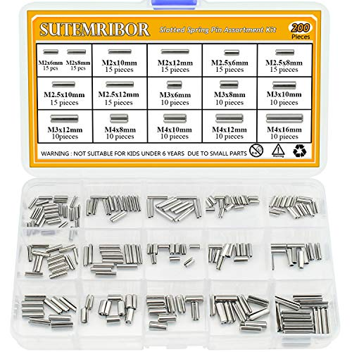 (Sutemribor 200Pcs M2 M2.5 M3 M4 Slotted Spring Pin Assortment Kit, 304 Stainless Steel)