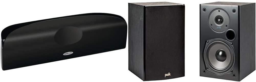 Polk Audio Blackstone TL1 Speaker Center Channel with Time Lens Technology   Compact Size, High Performance & T15 100 Watt Home Theater Bookshelf Speakers – Hi-Res Audio  Pair, Black