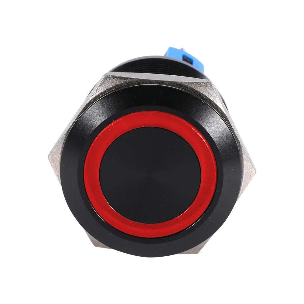 Keenso adatto per interruttore di accensione//spegnimento a LED autobloccante da 22 mm Interruttore a pulsante a filo alto 3A Rosso Interruttore a pulsante con chiusura a scatto