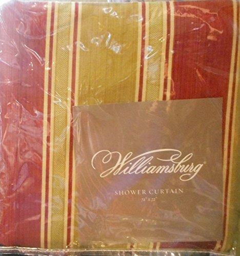 Waverly Williamsburg Stripe Ruby & Pear Shower Curtain (Waverly Cotton Shower Curtain)