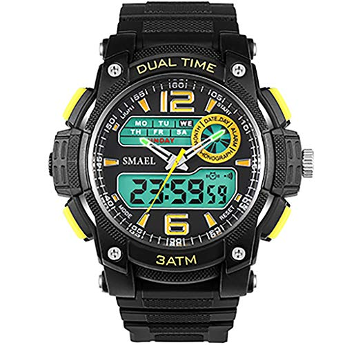Luxury Men Sport Watches, Fashion Cool Analog Digital Pointer Dial Waterproof Men