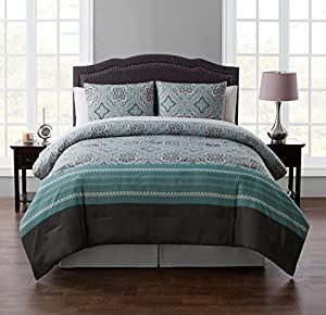 Queen BED-in-a-BAG Set : Boho Chic Medallion Design , Luxurious Microfiber in Blue ; Complete Set Includes Reversible Comforter , Pillow Shams , Sheet Set: Fitted, Flat & Pillowcase , Bedskirt
