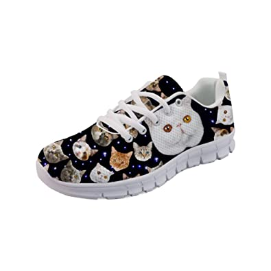 965b9bf113393 Amazon.com | Bigcardesigns Floral Cat Lace-ups Sneakers Breath Mesh ...