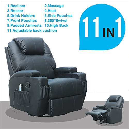 SUNCOO Massage Recliner Leather Sofa Chair Ergonomic Lounge Heated with Cup Holder 360 Degree Swivel (Black-11 IN 1) (Chair Ultimate Black Swivel)
