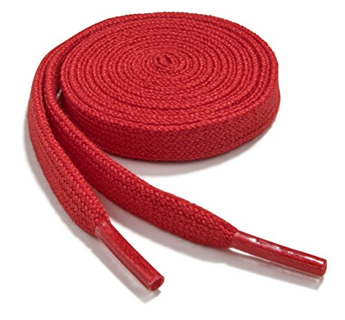 OrthoStep Narrow Flat Athletic 54 inch Red Shoelaces - High Durability Shoe and Sports Shoelaces 2 Pair Pack