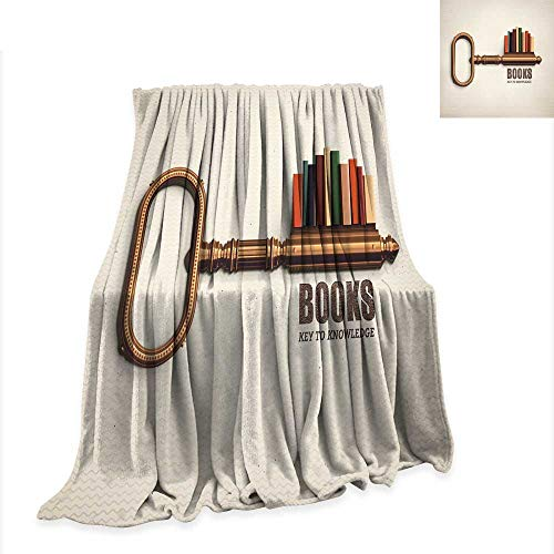 RenteriaDecor Blanket Book,Key Shaped Bookshelf with Colorful Books as Bitting Cuts Books Key to Knowledge Print,Multicolor Digital Printing W57 x L74 inch