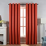 Cheap DOOYEE 95 inch Dark Orange Room Darkening Solid Color Grommet Top Curtains for Bedroom,Thermal Insulated Blackout Curtains for Livingroom,1 Pair(2 Panels) with 2 Tiebacks,W52 by L95 Rust