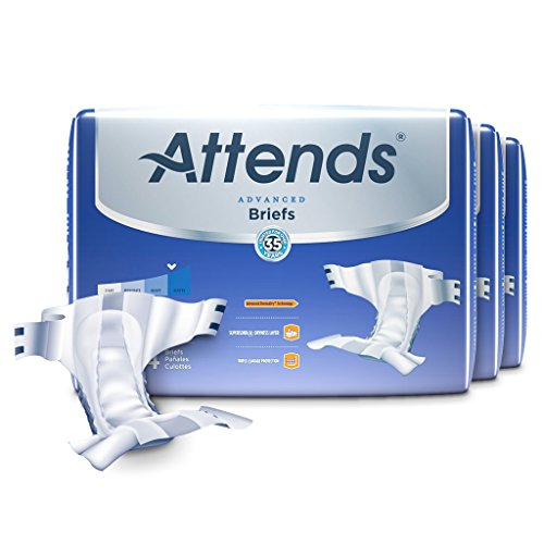Attends Advanced Briefs with Advanced Dry-Lock Technology for Adult Incontinence Care, Large, Unisex, 72 Count