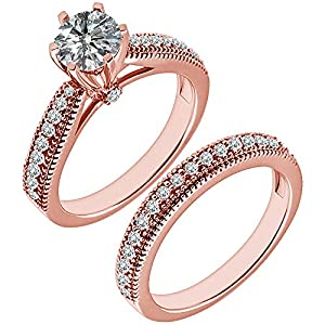 0.87 Carat G-H I2-I3 Diamond Engagement Wedding Anniversary Halo Bridal Ring Set 14K Rose Gold