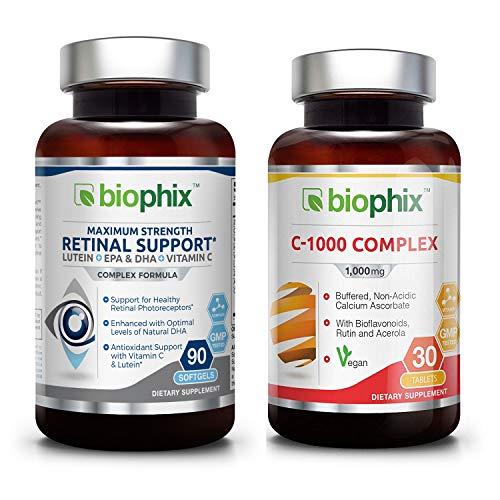 (Retinal Support Maximum Strength Complex Formula 90 Softgels - Free C-1000 | Zinc | Vitamin E | Omega-3 EPA DHA | Lutein | Astaxanthin | Hyaluronic Acid | Eye Healthy Vision Support)
