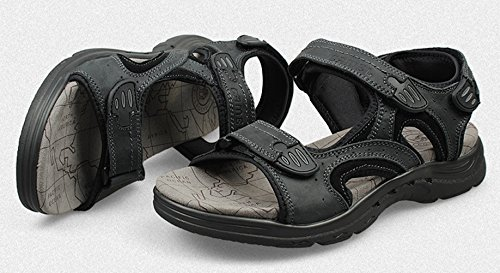Black Sandal Strap Velcro Leather Chickle Men's 8w6xnf1n0
