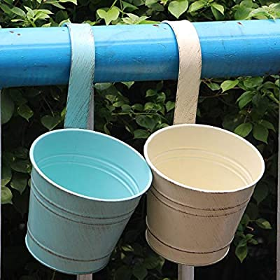 KIKISUM Metal Hanging Flower Pots Mini Iron Garden Balcony Planters Bucket Holders Pack of 4 (2Green+ 2White): Garden & Outdoor