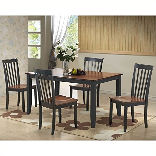 Boraam 21034 Bloomington 5-Piece Dining Room Set, Black/Cherry (Cheap Counter Height Dining Sets)
