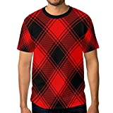 ALAZA Black Red Gingham Checkered Plaid Men's Short Sleeve T Shirt Casual Crew Neck Tee, S