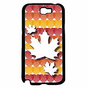 Autumn Leaf with Colorful Hearts Background Plastic Fashion Phone Case Back Cover Samsung Galaxy Note II 2 N7100