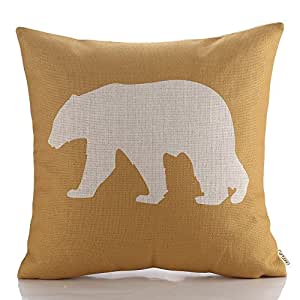 HT&PJ Decorative Cotton Linen Square Throw Pillow Case Cushion Cover Yellow Background Bear Printed 18 x 18 Inches