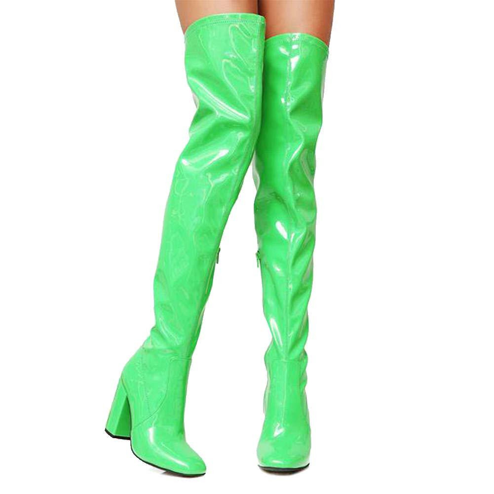 DoraTasia Frauen PU Chunky High ¨¹ber Heels Oberschenkel Hohe Sexy Stiefel Wasserdicht ¨¹ber High Dem Knie Kleid Ritter Stiefel bad829