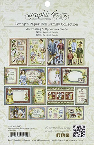 Graphic 45 Penny's Paper Doll Family Ephemera & Journaling Cards -