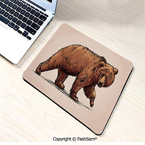 Mouse Pads Ink Drawing Style Wildlife Beast Carnivore Figure Walking Zoology Nature Themed Art Decorative for ()