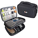 "BUBM Electronic Organizer, Double Layer Travel Gadget Storage Bag for Cables, Cord, USB Flash Drive, Power Bank and More-a Sleeve Pouch for 7.9"" iPad Mini(Medium,Black)"