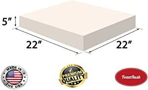 """FoamRush 5"""" x 22"""" x 22"""" Upholstery Foam High Density Firm Foam Soft Support (Chair Cushion Square Foam for Dinning Chairs, Wheelchair Seat Cushion Replacement)"""