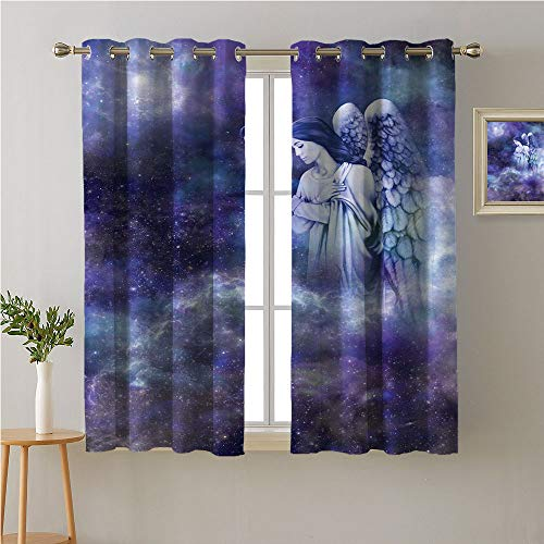 Jinguizi Angel Grommet Curtain for Living Room,Guardian Winged Woman Watching Above on Galaxy Background,Modes Darkening Curtains,108W x 72L