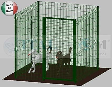 Recinto Box Modulare Per Cani In Ferro Zincato E Verniciato Verde