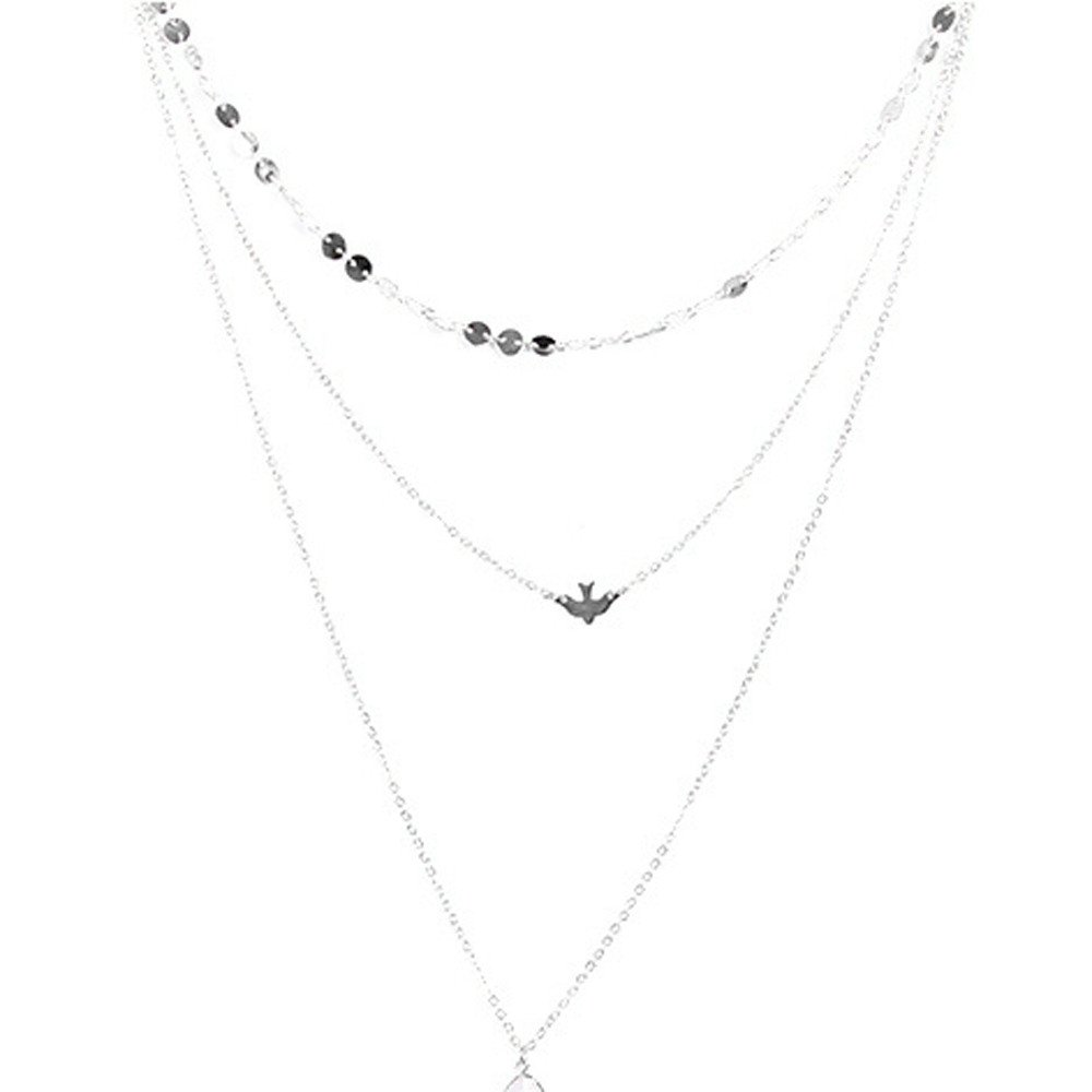 Oillian Women New Peace Dove Soar Flying Multi Layers Crystal Sequins Chain Pigeon Bird Water Drop Pendant Necklace Gift for Lady Girl Friends (SL)